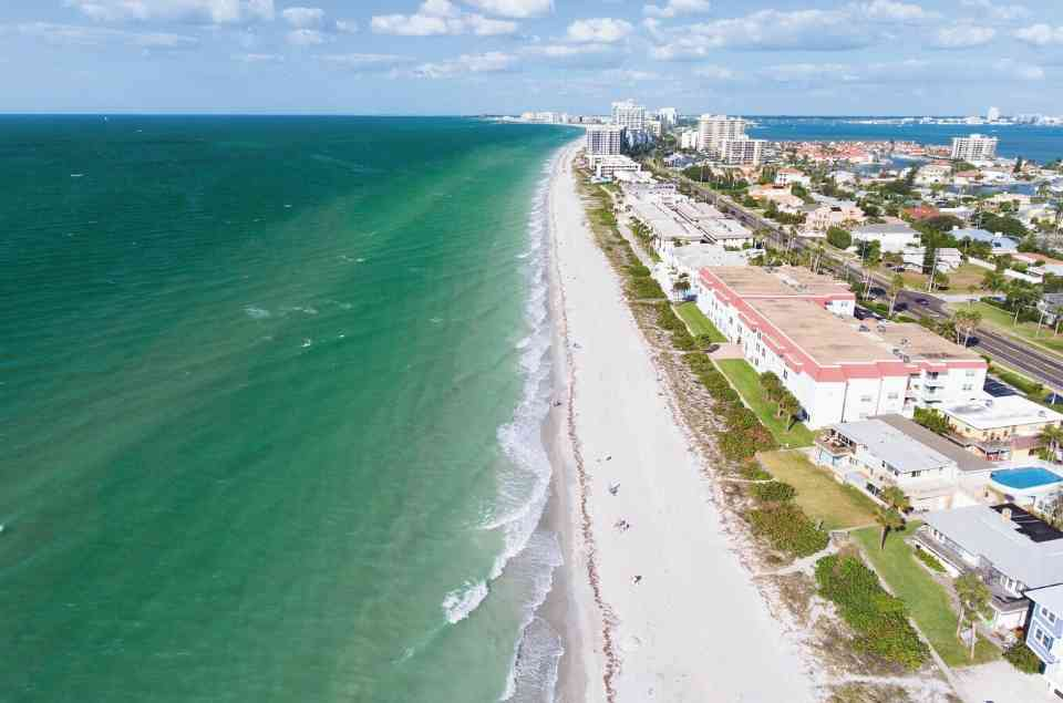 Aeiral View of Belleair Beach on Tampa Bay Beaches