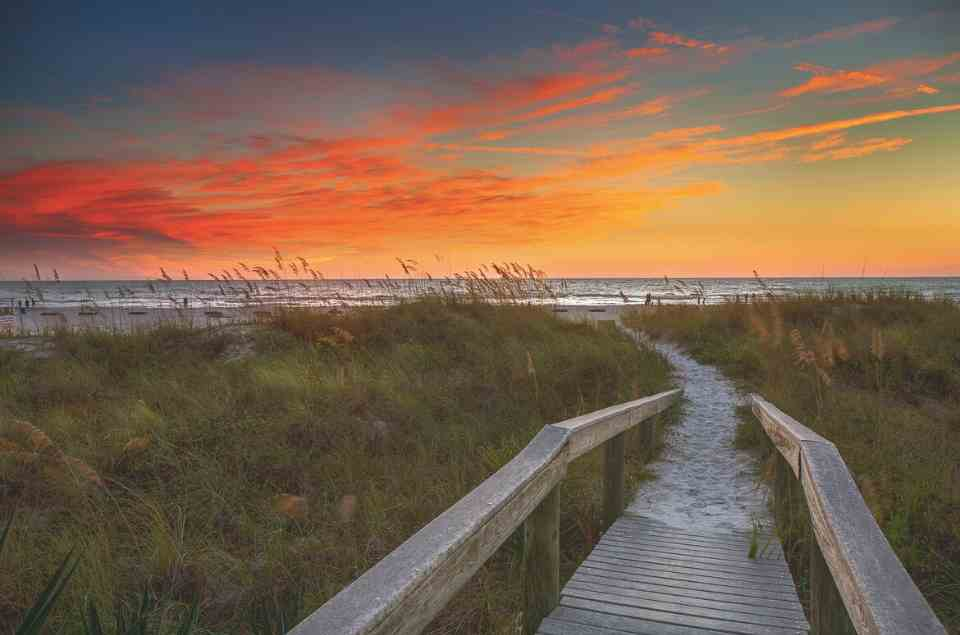 Indian Shores Boardwalk at Sunset