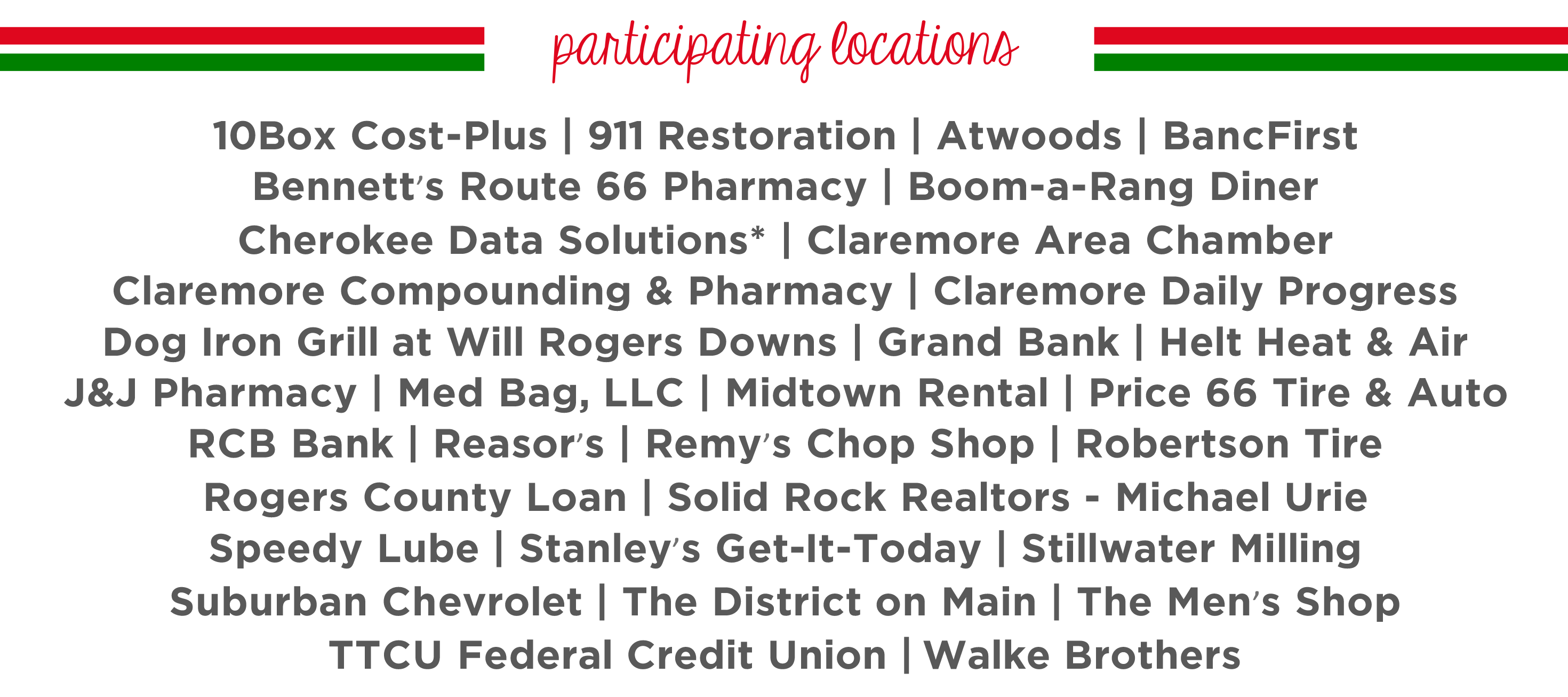 2019 Santa Cash Locations