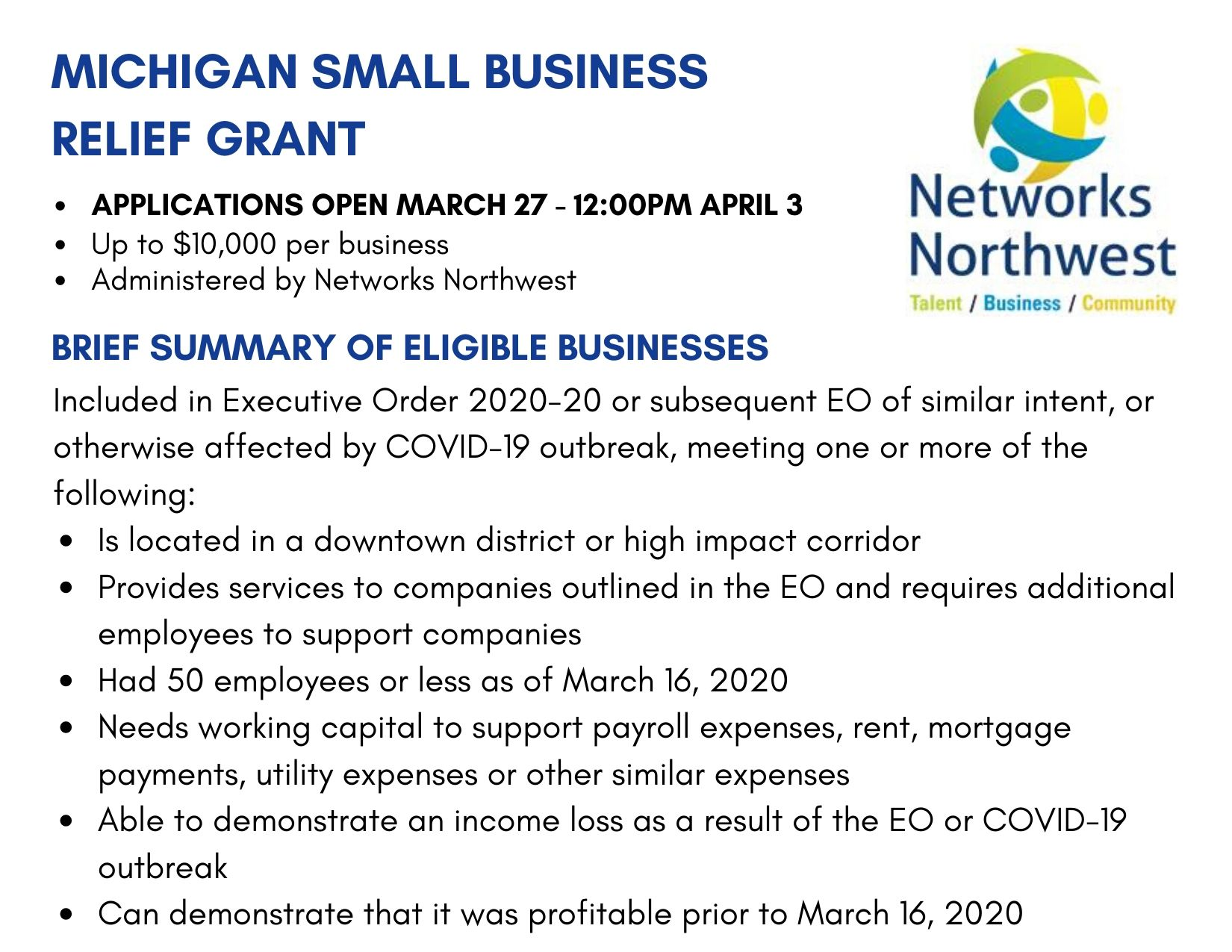 MEDC Small Business Relief