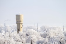 historic water tower in winter