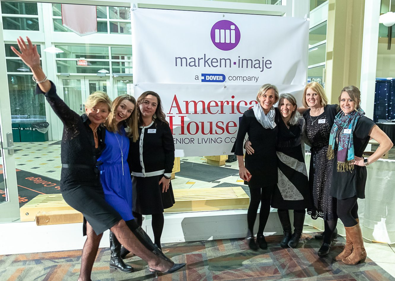 American House group with banner