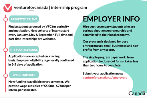 Employer info for venture for Canada internship program.