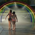 Children playing in sprinklers