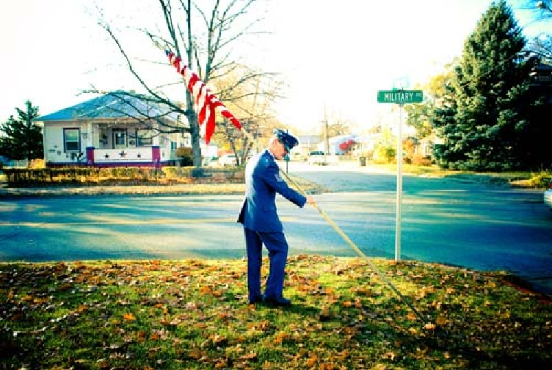 officer planting flag
