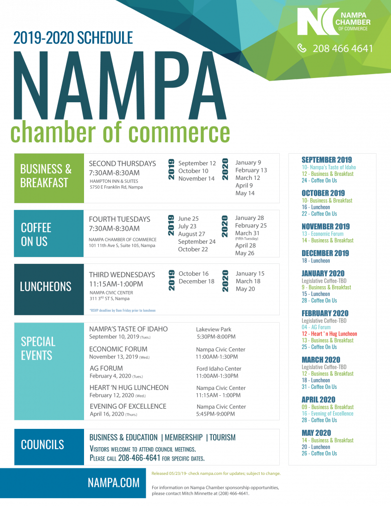 2019-2020 Chamber of Commerce Schedule