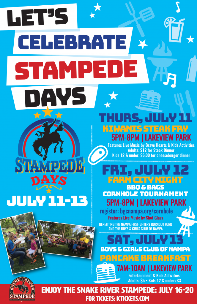 Let's Celebrate Stampede Days. Thursday July 11 through Saturday July 13