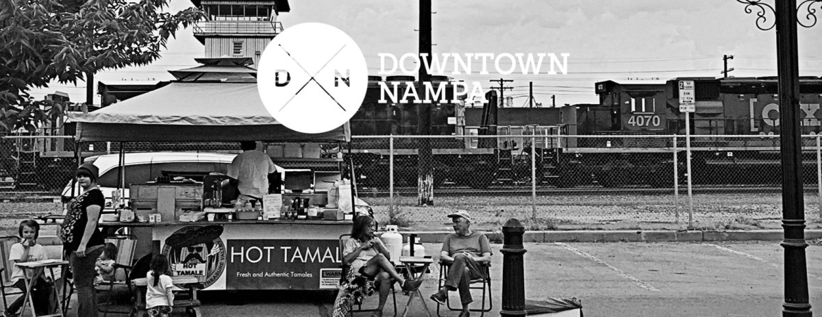 Black and white picture of downtown Nampa near the train station