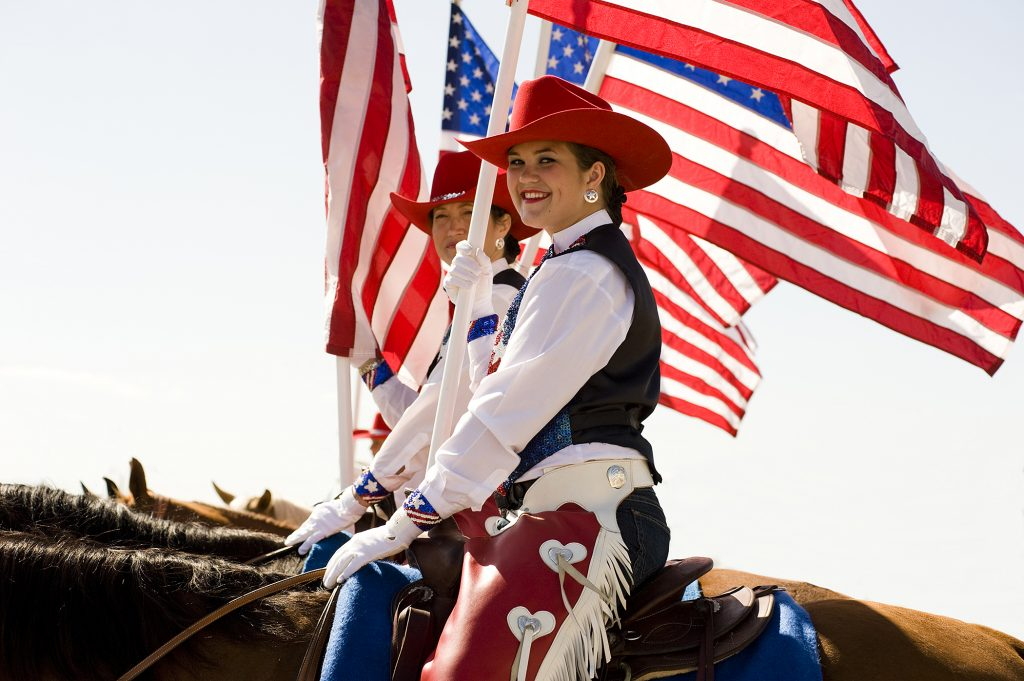 Flag girls on horses at the Stempede & Rodeo