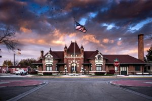 Nampa Depot building at sunset