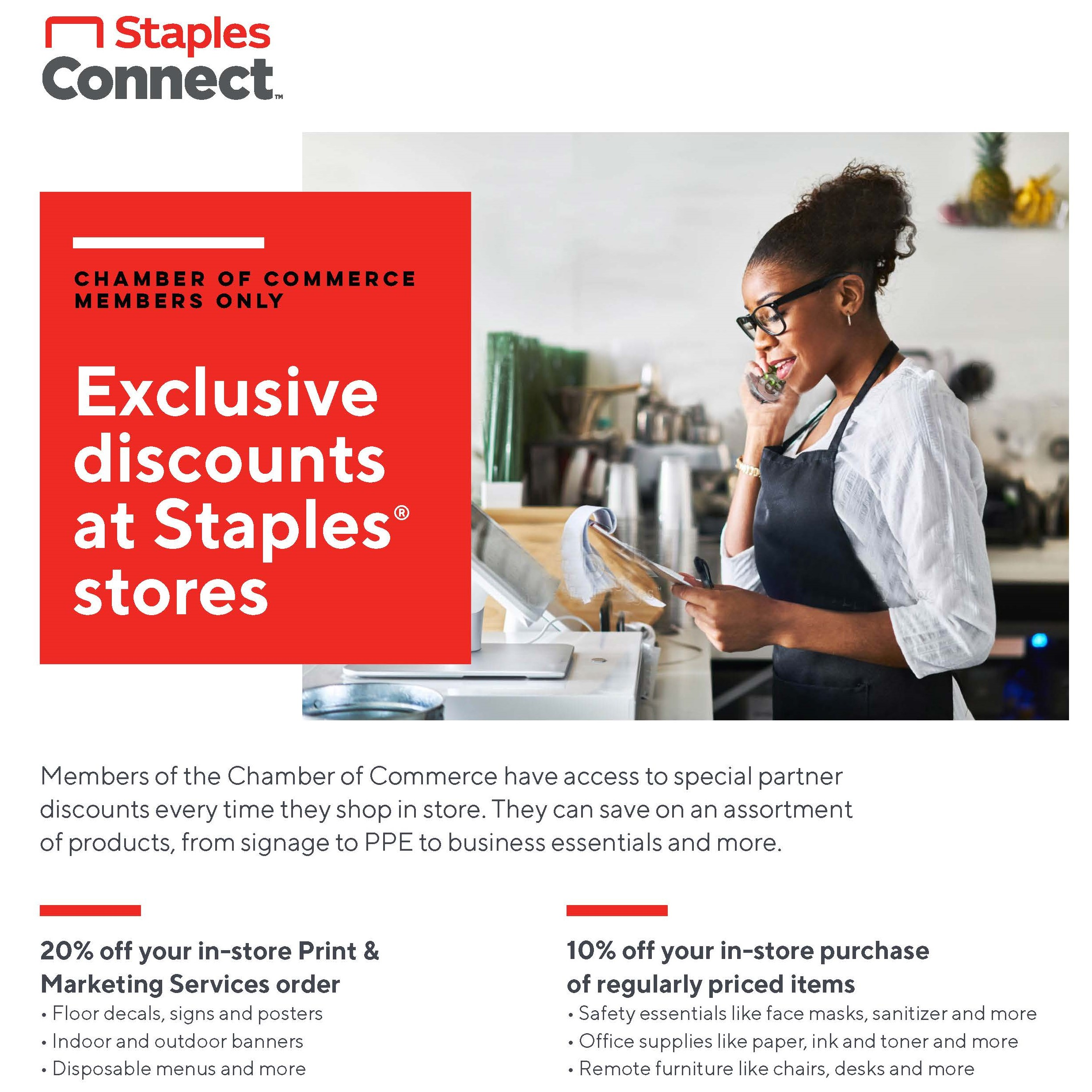 Staples Chamber Discount Flyer