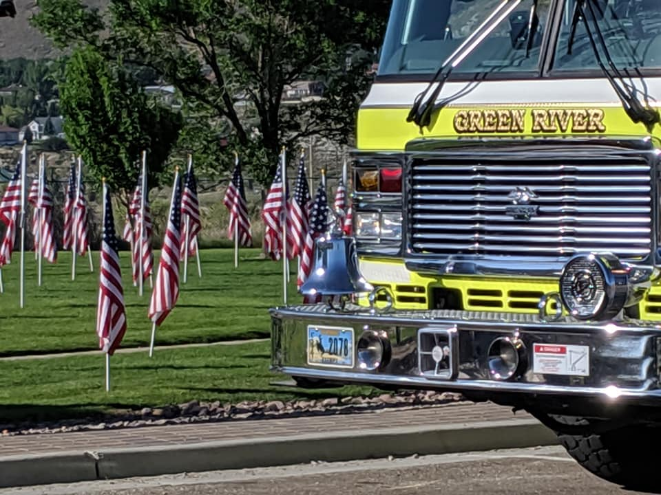 green river fire truck, flags in the background