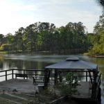 Pond at Yellow Rose Cabin B&B, near Goodrich, TX.