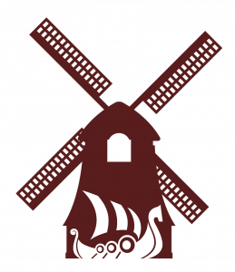 Burgandy Widmill and ship
