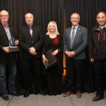 Jack French (left) and Bob Miyanaga (right) accepting the Spirit of Taber Award on behalf of the Taber Charity Auction