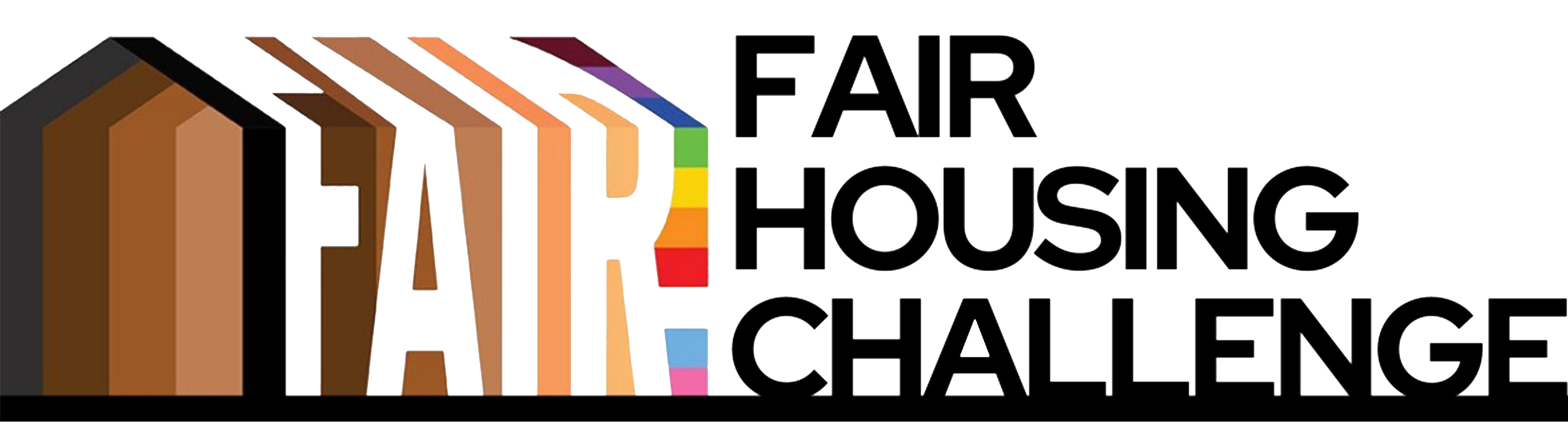 word graphic that says fair housing challenge in black. Fair is written again on left side in skin tone colors