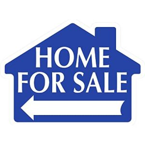 blue sign shape of house with home for sale