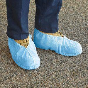 gauzy blue foot covers
