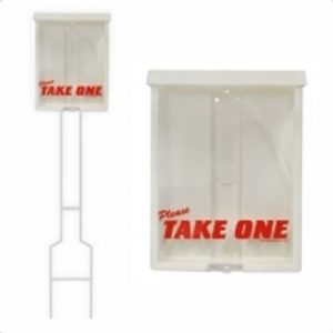 plastic box with lid. front says take one
