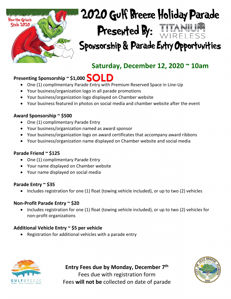 2020 GB Holiday Parade Sponsorship Only