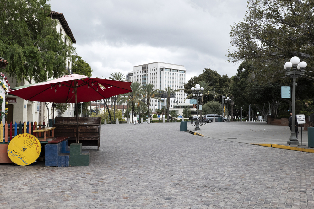 LOS ANGELES, CA/USA - MARCH 19, 2020: Historic Olvera Street, a famous tourist attraction in downtown LA is deserted prior to the state ordered coronavirus quarantine.