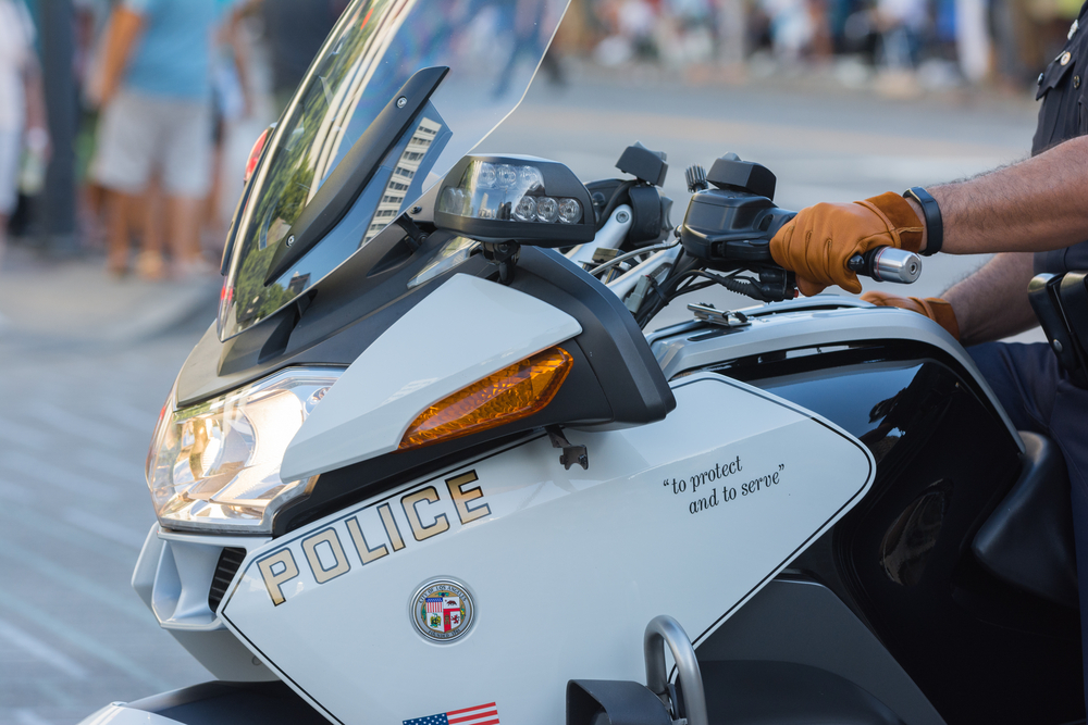 Los Angeles, CA - USA - August 16, 2015:  Police officers on motorcycles performing during 75th Annual Nisei Week Grand Parade in Little Tokyo.