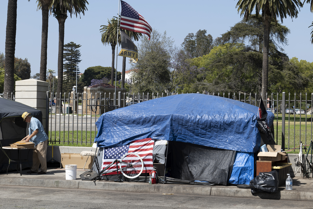 Los Angeles, CA USA - May 30, 2021: Homemess veterans and tents outside the Veteran's Administration in Los Angeles
