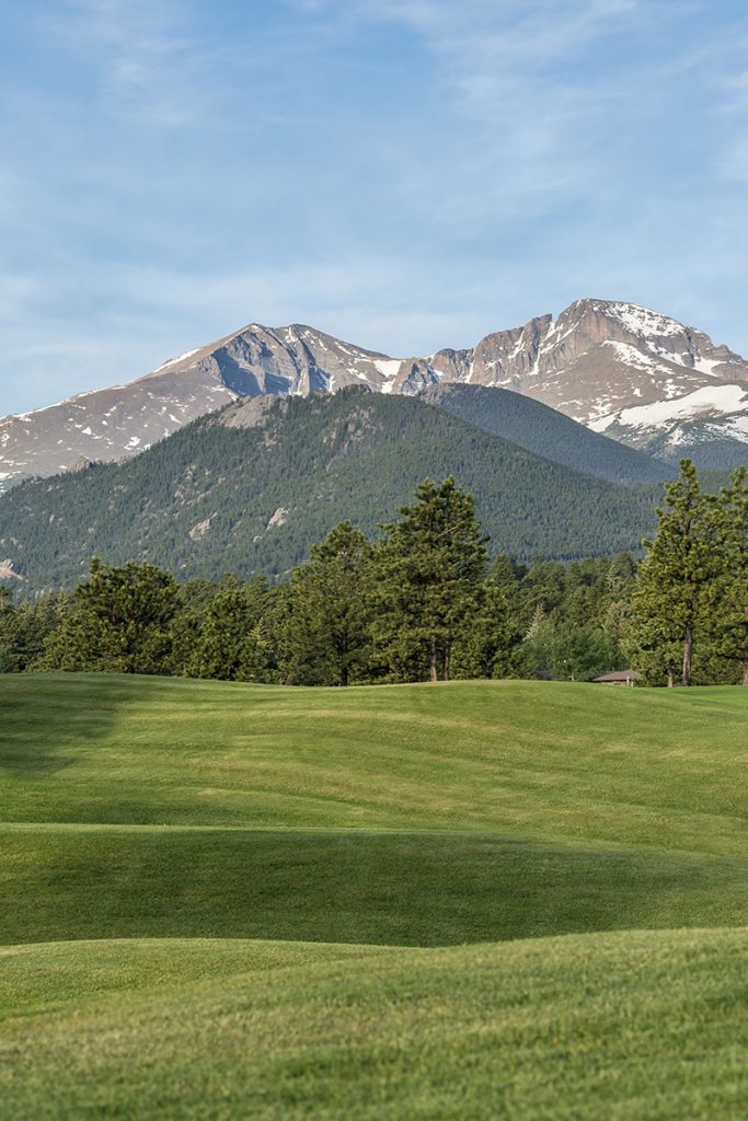 Longs Peak in the distance from the east side of the Estes Park 18-Hole Golf Course in Estes Park, Colorado