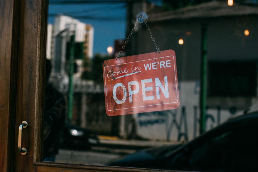 Store front open sign