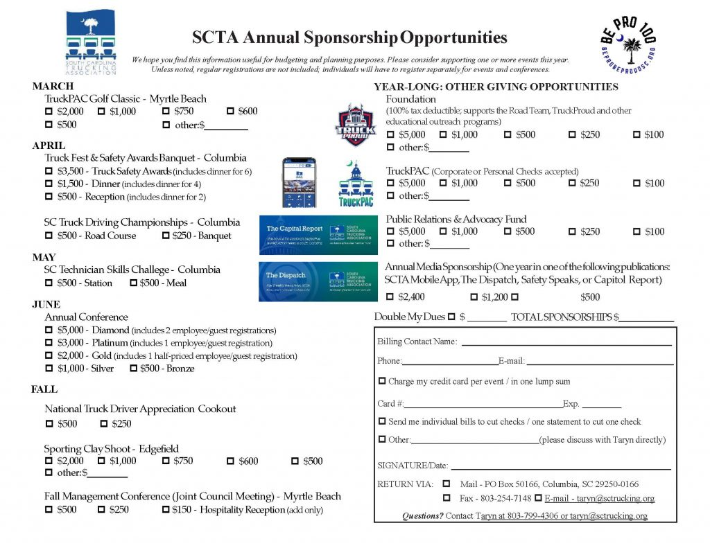 2020 SCTA Annual sponsorship opportunities