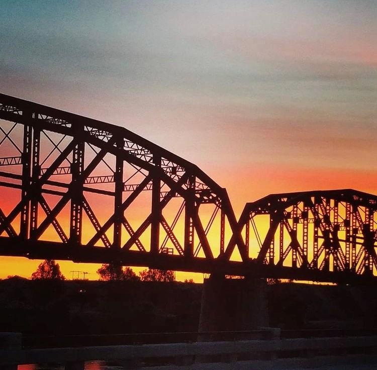 Train Bridge in sunset