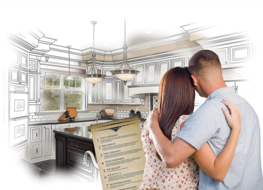 Couple looking at kitchen remodel