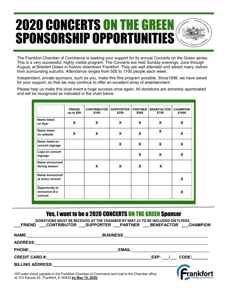 2020 Concerts on the Green Sponsor form