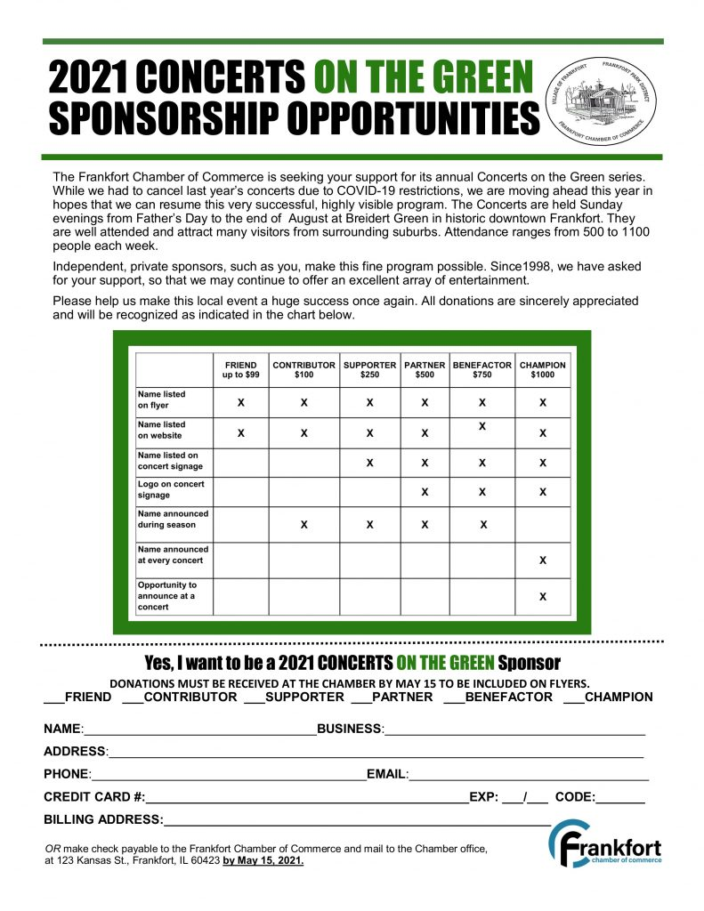 2021 Concerts on the Green Sponsor form