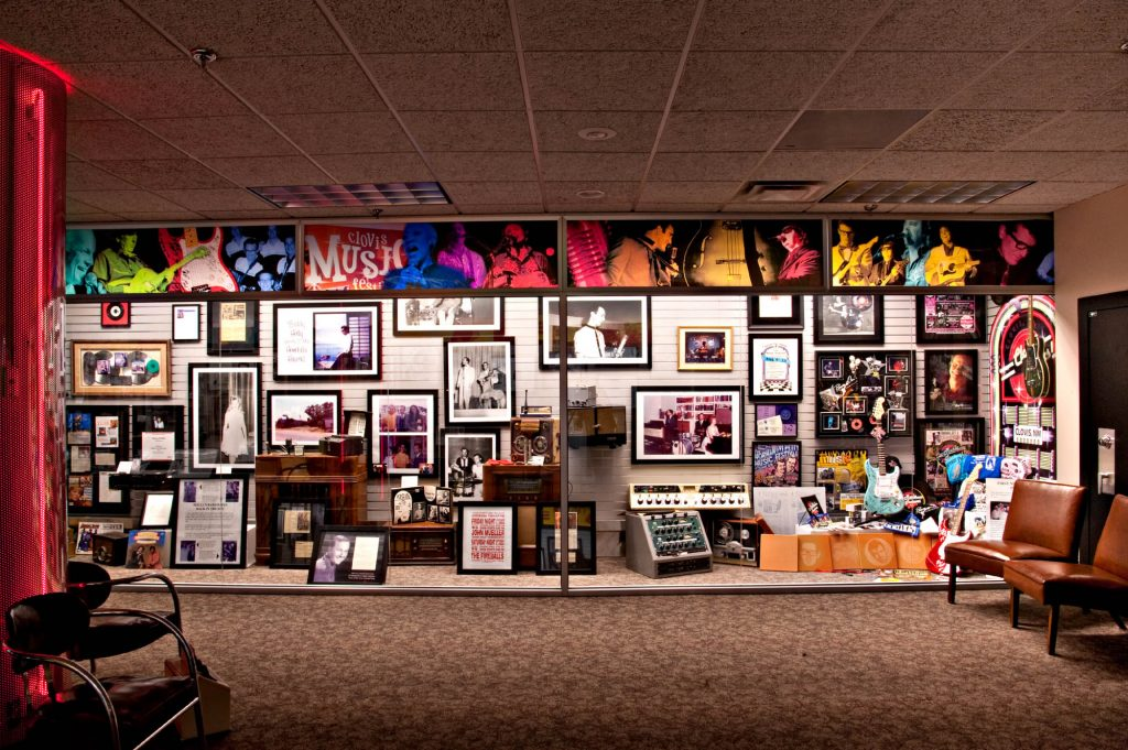Photo of the inside of the Norman and Vi Petty Rock & Roll Museum in Clovis, New Mexico