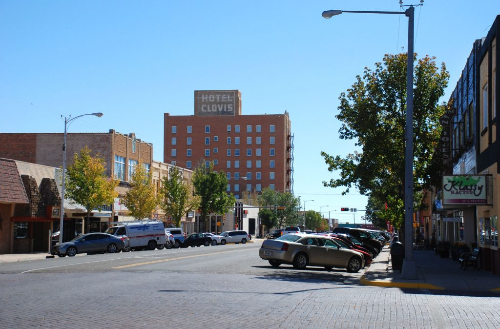 Photo of Downtown Clovis featuring the historic Hotel Clovis building.