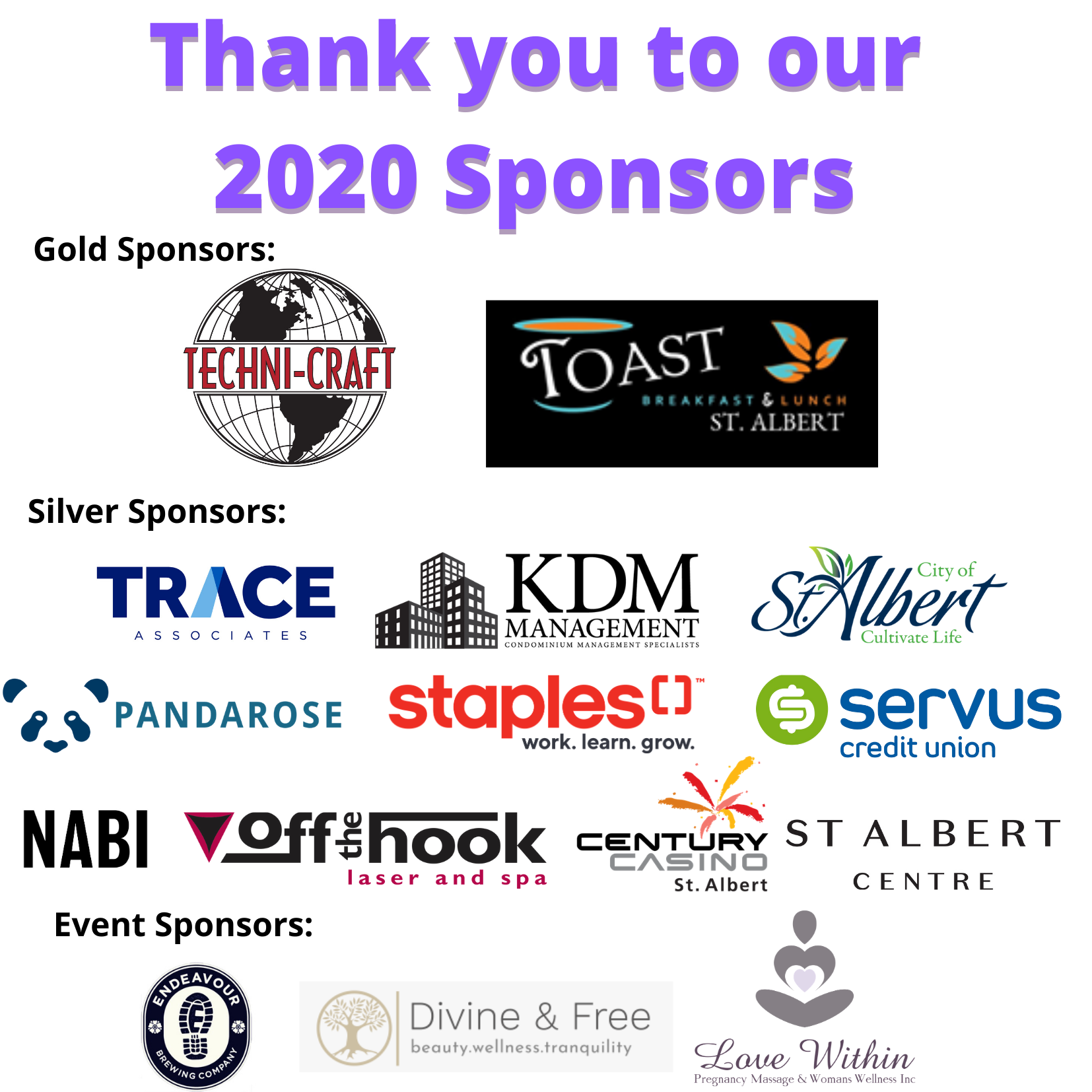 Thank you to our current sponsors Sept 22