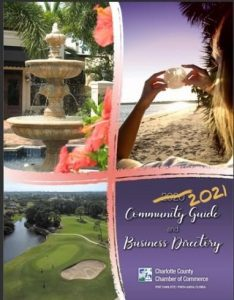 Cover page of 2021 Community Guide beach golf and fountain photo