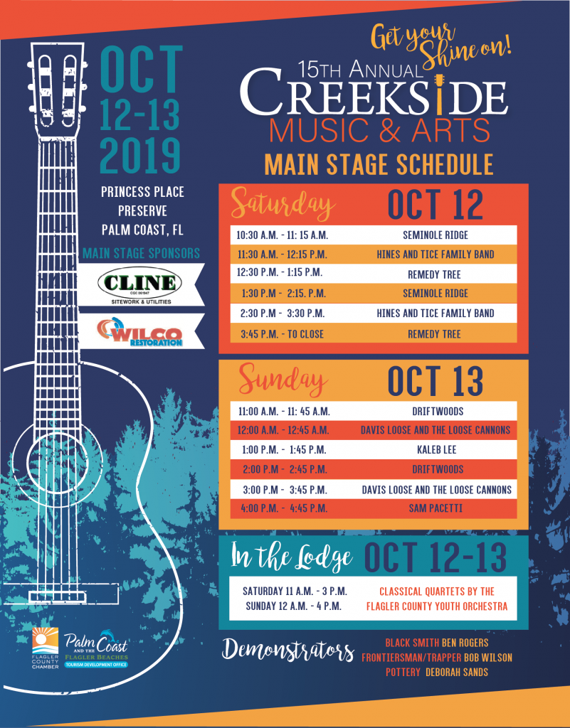 Creekside 2019 Band Schedule flyer