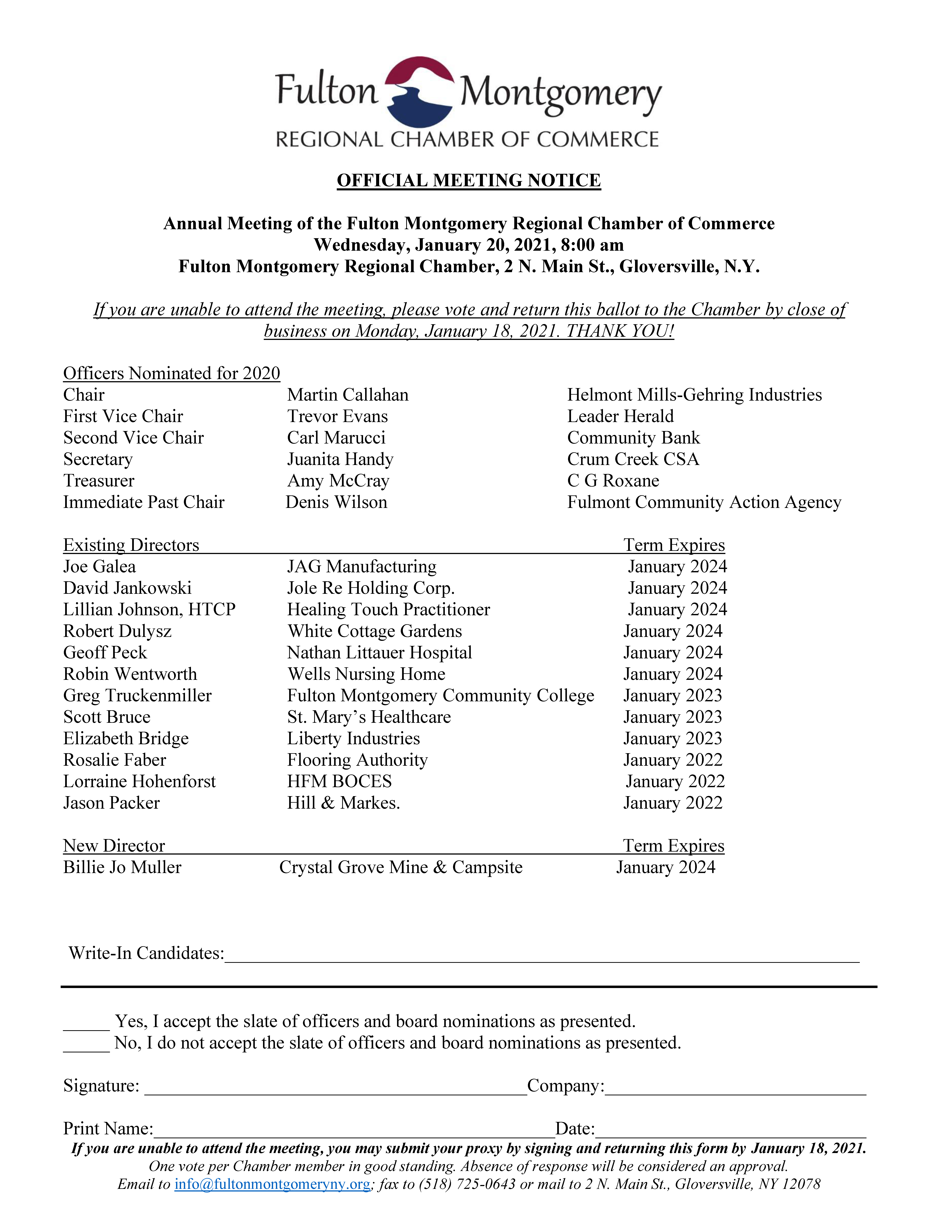 OFFICIAL 2021 MEETING NOTICE