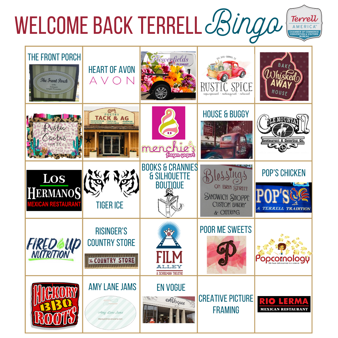 Welcome Back Terrell BINGO -- CARD-only-Square