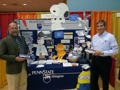 Penn State Abington, an EMCCC Expo sponsor proudly displays their booth showcasing their valuable educational programs to the business community