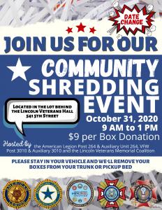 OCTOBER 31ST - Shred day 2020 - Lincoln Veterans Groups