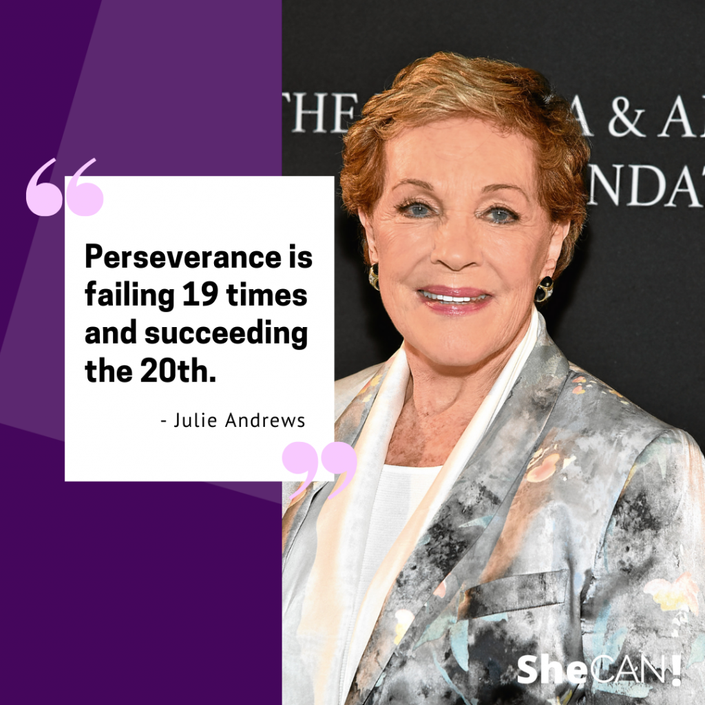Perseverance is failing 19 times and succeeding the 20th.  - Julie Andrews, English film and stage actress