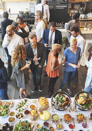 stock photo of people socializing at an event