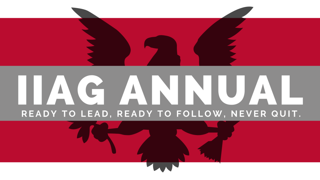 IIAG Annual Graphic with Red BG & Black Eagle