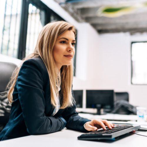 Woman at Computer Graphic