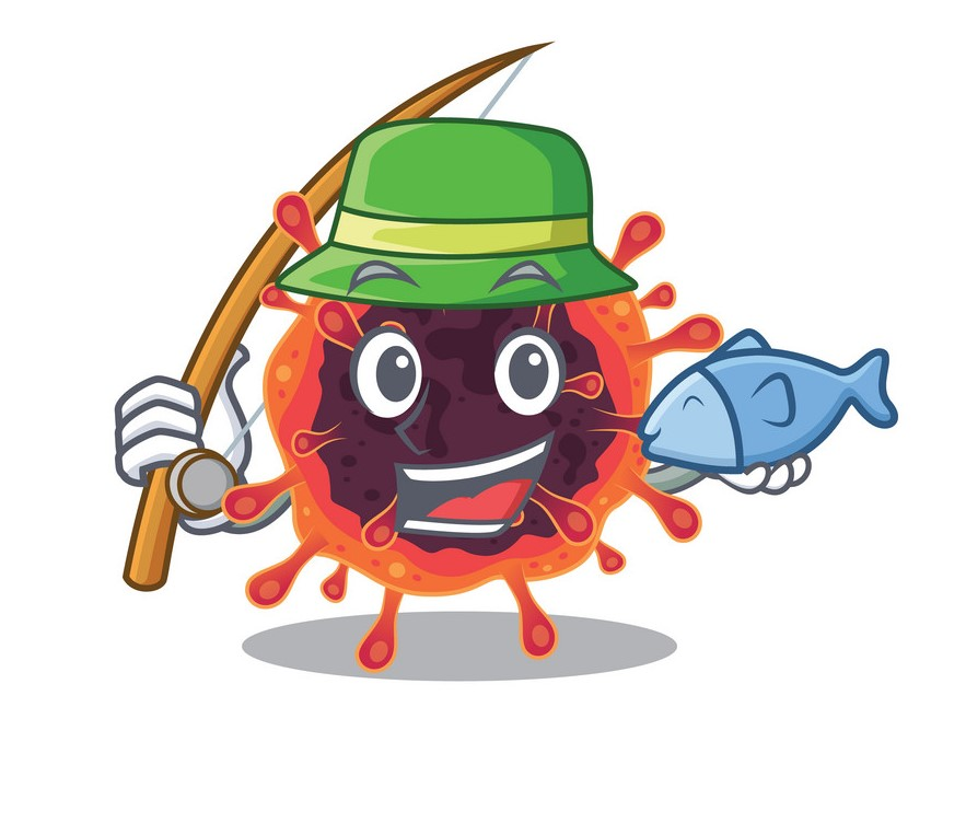 A Picture of funny Fishing corona virus zone design. Vector illustration