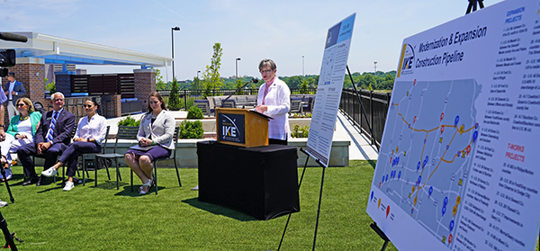 Gov. Laura Kelly speaks at the announcement of the U.S. 69 Highway expansion project
