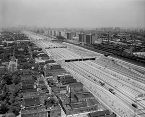 The Dan-Ryan expressway on the south side of Chicago required demolition of dozens of blocks of housing in a historically African-American neighborhood. The consequences are still playing out today.